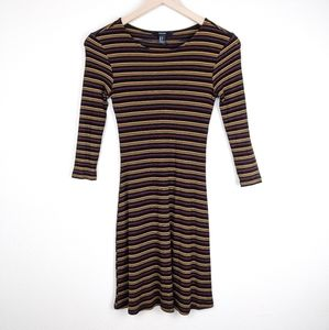 Forever 21 Black Striped Mid-sleeve Ribbed Dress